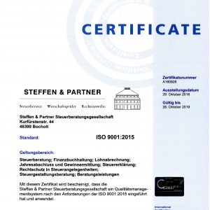 INTERNATIONAL CERTIFICATION MANAGEMENT GmbH: Steffen Steuerberater sind zertifiziert nach DIN-EN ISO 9001:2015
