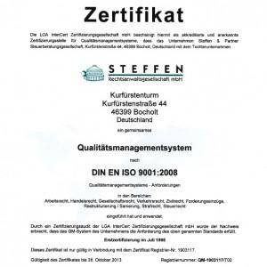 DIN EN ISO 9001:2008 Zertifizierung der Rechtsanwälte