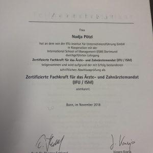 """Nadja Poetzl ist nun """"zertifizierte Fachkraft für das Ärzte- und Zahnärztemandat!!!,  in"""